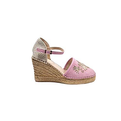 Vanessa Jennifer Baby Pink Suede Bordado Alpargata Zapatos de cuña Londres, color Rosa, talla 39 EU