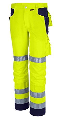 Qualitex Warnschutz-Bund-Hose Arbeits-Hose PRO MG 245 - gelb/marine - Größe: 52