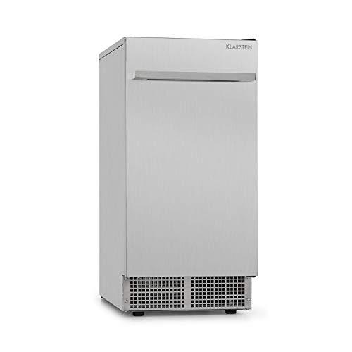 Klarstein Icetender roestvrijstalen ijsblokjesmachine voor gastro met compressor en wateraansluiting - Nugget ijsblokjesvorm, 30 kg ijs per dag, 11,5 kg ijscompartiment, zilver