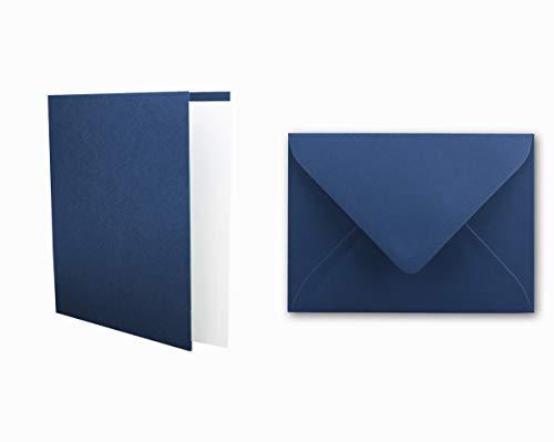 Einladungskarten inklusive Briefumschläge & Einlegeblätter - 25er-Set - Blanko Klapp-Karten in Dunkel-Blau - bedruckbare Post-Karten in DIN B6 Format - speziell zum Selbstgestalten & Kreieren