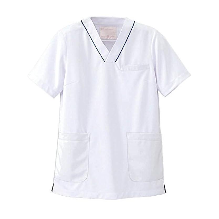 お世話になったいちゃつく抜粋ナースリー マルチジャケット 透け防止 ストレッチ スクラブ 医療 看護 ナース 白衣 レディース S ホワイト×ネイビー 993102