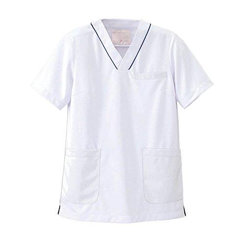 ナースリー マルチジャケット 透け防止 ストレッチ スクラブ 医療 看護 ナース 白衣 レディース M ホワイト×ネイビー 993202A