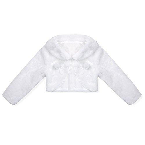 Agoky Chaqueta de Princesa Fiesta Boda Danza para Niña Elegante Cárdigan Abrigo Bolero Invierno Otoño Bebé Niña (12 Meses-8 años) Blanco 7-8 años