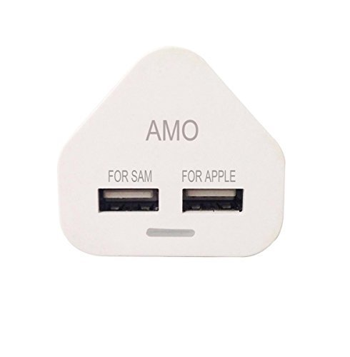 AMO White Dual 2AMP/2000mAh Rapid Double Speed Universal USB Charger With Smart IC UK Plug For iPhone / iPad / iPod / Samsung Galaxy Tab / HTC / Windows Phone / Tablet & USB Socket Devices