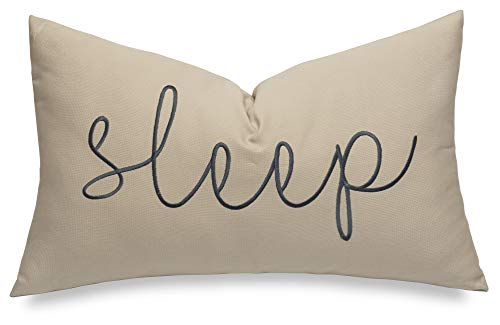 EURASIA DECOR Sleep Sentiment 12x20 Embroidered Decorative Lumbar Accent Throw Pillow Cover-Natural