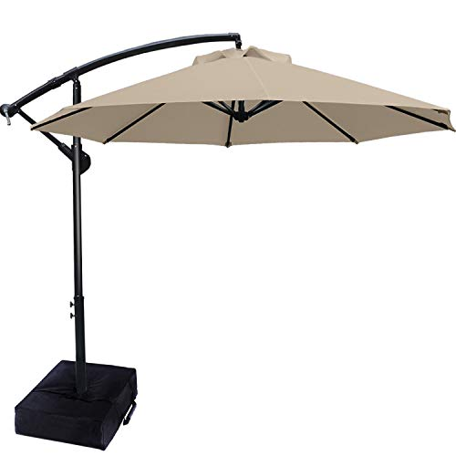 ABCCANOPY Patio Umbrellas Cantilever Umbrella Offset Hanging Umbrellas 10 FT Outdoor Market Umbrella with Crank & Cross Base for Garden, Deck, Backyard, Pool and Beach, 12+ Colors (Khaki)