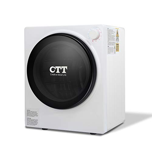 CTT 9 Lbs. Capacity/2.7 Cu.Ft. Electric Portable Compact Laundry Clothes Dryer | Stainless Steel Tub - White
