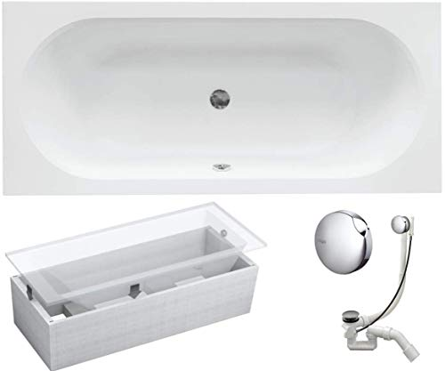 VBChome Badewanne 160x75 cm Acryl SET 3in1 Wannenträger Siphon Wanne Rechteck Weiß Design Modern Styroporträger Ablaufgarnitur in Chrom Viega Simplex für 2 Personen (160x75 cm)