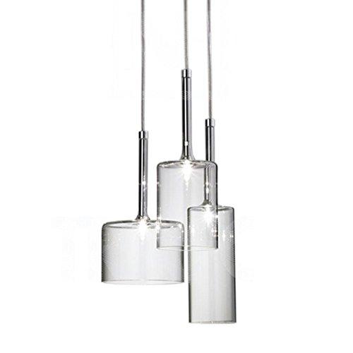 MZStech Set 3-flammig LED Einfache Deckenleuchte Morden Pendelleuchte mit Glas Lampenschirm Basis G4 LED Glühbirne (Transparent)