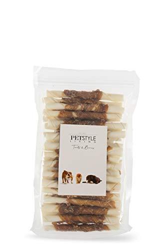 Petstyleliving | Bastone ritorto bianco con anatra 12,5 cm 7/8 mm | 30 pezzi | snack per cani
