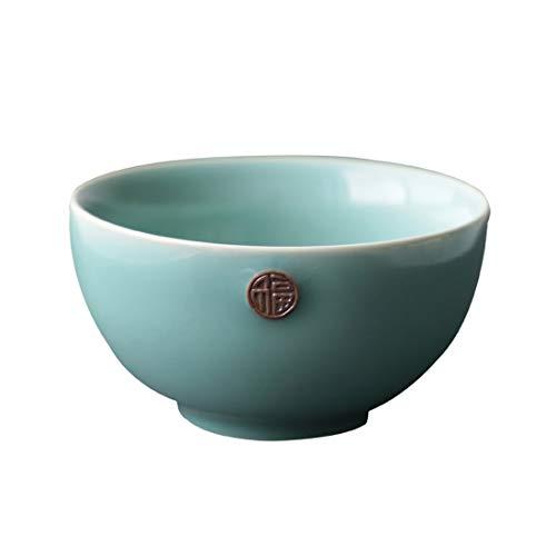 MWYJ Tazón de Fuente pequeño con carácter Fu, esmaltado Sky Celadon de 4 Pulgadas, tazón de arroz para el hogar de Estilo Chino