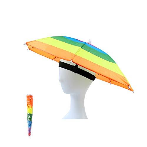 OMUKY Regenschirmhut Faltbarer SonnenschirmHut Angeln Hut Angelschirme Camping Leichte Wandern Mütze schirmhut für Damen Herren Golf, Angeln, Gartenarbeit, Fotografie, Wandern (Farbe1, 1 Stück)
