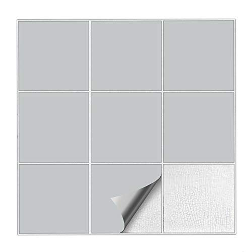 Kiwistar Fliesenaufkleber Hellgrau 72 Seidenmatt - 15 x 15 cm - 25 Stück - Für Bad, Küche etc