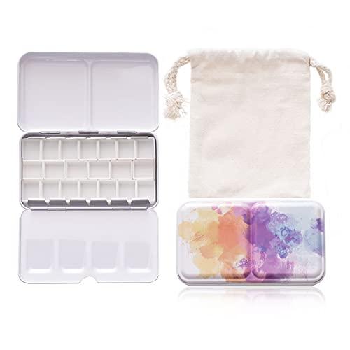 Watercolor Palette Empty Paint Palette with 20 Pcs Pre-Assembled Half Pans and A Storage Bag (Colorful)