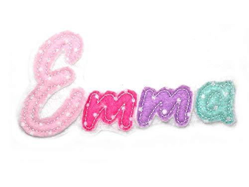 Buchstaben Namensschild gestickt Applikation Aufnäher Bügelbild für Kinder Name Wunschname Farbwahl Aufbügler Monogramm