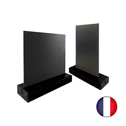 Porte menu de table en bois couleur noir dimensions 21 x 6,5 x 2,4 cm avec ardoise A5 - Lot de 2