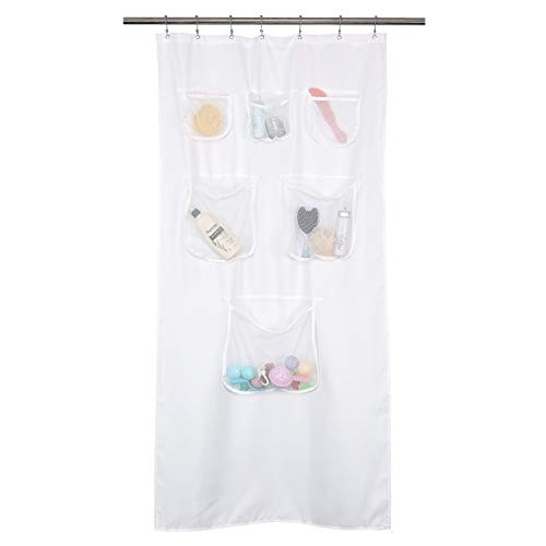 Fabric Stall Shower Curtain or Liner with 6 Mesh Pocket - 36 x 72 inch, Water Repellent, Odorless, Washable and Rust Proof Grommets