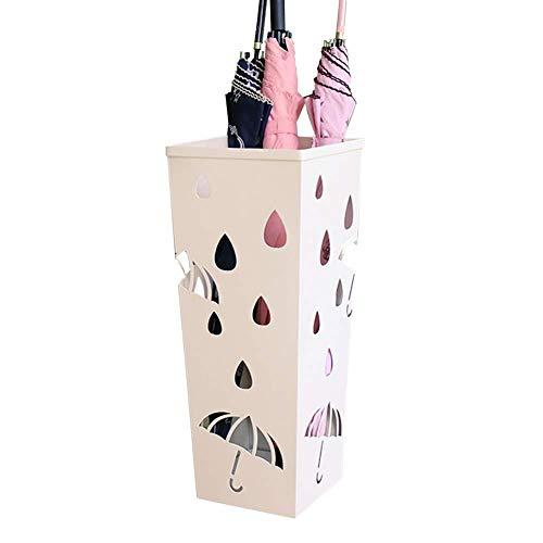 Paragüero Cuadrado Blanco, Creativo Cubo de Paraguas de Hierro Forjado, Soporte de Drenaje de Paraguas para el vestíbulo del Hotel para el hogar, 15x20x50cm