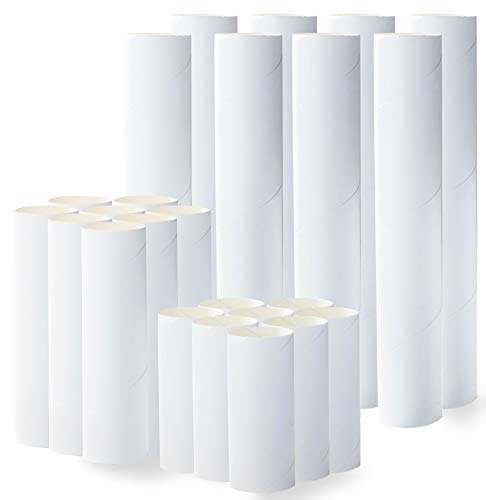 White Cardboard Tubes for Crafts, DIY Craft Paper Roll (3 Sizes, 24 Pk)
