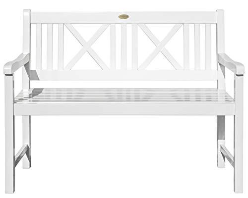Landhausbank LÜBECK weiß lackiert, 2-Sitzer aus Eukalyptus FSC, B 120 x H 89 x T 59 cm