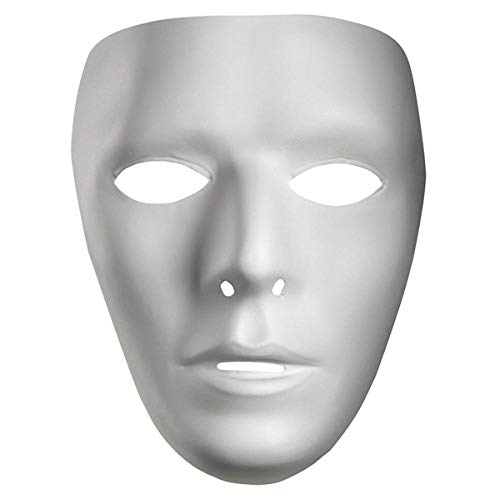 Blank Male Adult Mask, White, Standard