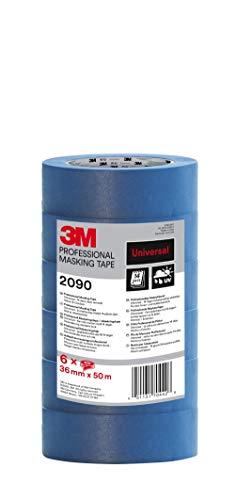 3M 2090 Profi Malerband für glatte Oberflächen, UV-beständig, innen und außen, Vorteilspack mit 6 Rollen, 36 mm x 50 m