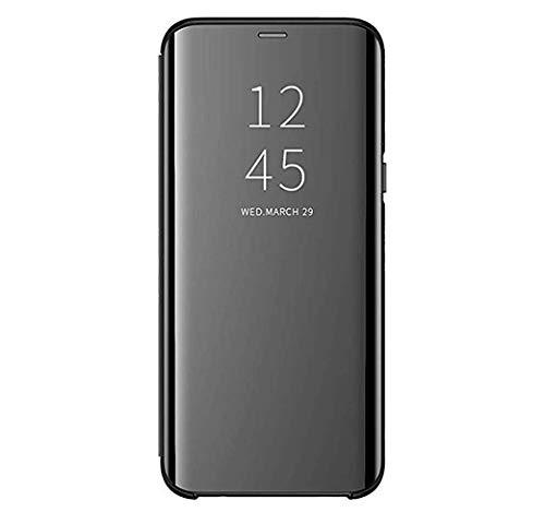 Custodia Samsung Galaxy S8/S8 Plus Clear View Standing Cover Mirror Flip Custodia 360 Gradi Protezione Portafoglio Elegante Flip Case Copertura (S8 Plus, Nero)