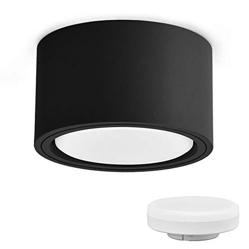 KYOTECH LED Aufbauspot Schwarz Flach 230V Ø95x55mm Aufputz inkl. 6W GX53 Leuchtmittel warmweiß 3000K 550LM Decken Aufbaustrahler mit großer Leuchtfläche LED Aufputz Spotleuchte Rund