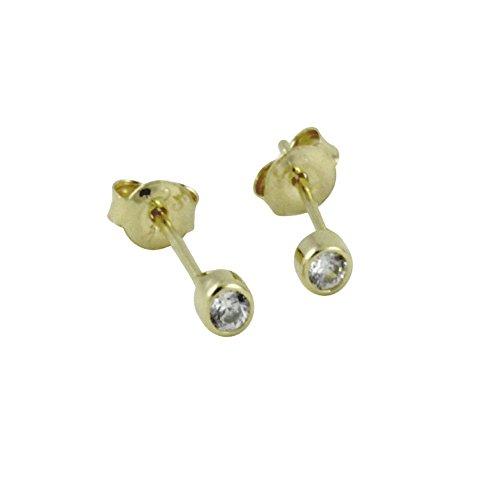 apop nyc Rose Goldtone Sterling Silver Tiny Bezel CZ Stud Earrings 4mm [Jewelry]