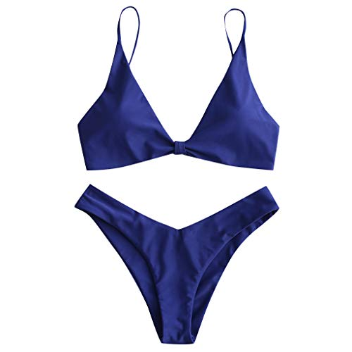 Damen Schwimmen Sport Yoga Fitness Tankini Shorts Strand Teilt Bikini Set Gefüllter Frauen BH Bademode Beachwear Bademode Badeanzüge Mit Hotpants (EU:36, Blau)