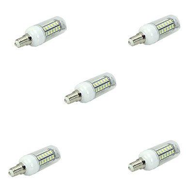 WELSUN 7W E14 Ampoules Maïs LED T 48 SMD 5730 450LM LM Blanc Chaud/Blanc Froid Décorative AC 100-240 V 5 pièces (Light Source Color : Blanc Chaud)