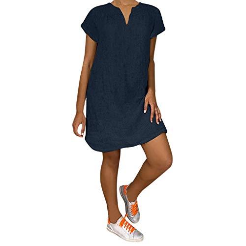 Lazzboy Damenmode Lose Freizeit V-kragen Kurzarm Damen Leinenkleid Sommer V-ausschnitt Kleid Boho Sommerkleid Leinen Kleider Strandkleider A-linie(Marine,3XL)