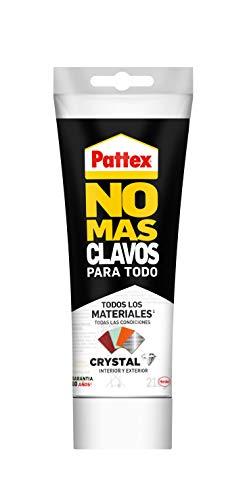 Pattex No Mas Clavos Para Todo Crystal, adhesivo de montaje resistente a temperaturas extremas, pegamento fuerte en superficies húmedas, adhesivo transparente, 1 tubo x 216 g