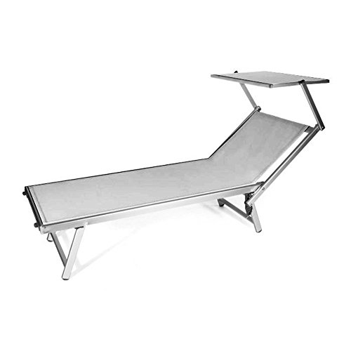 VERDELOOK Rimini Sunbed with Sunshade, Grey, Classic Sea Bed or Garden Furniture