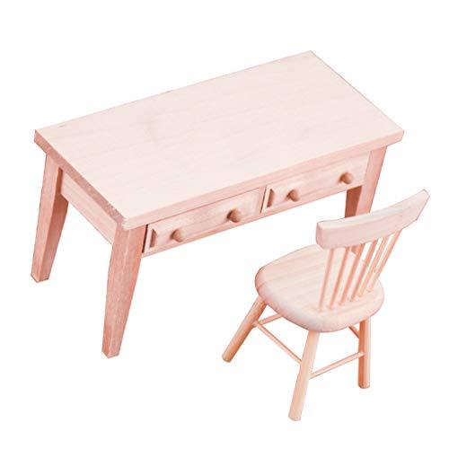 #N/A Puppenmöbel, Holz Student Schreibtisch + Stuhl Satz für 1: 12 Puppenhaus