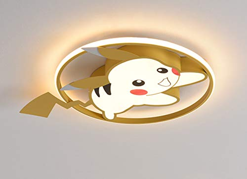 Lámpara De Techo Moderna Plafón Para Habitación Infantil LED Regulable Con Control Remoto Iluminación De Techo Modelado De Pokémon Pikachu Para Niños Niñas Lámpara De Dormitorio Acrílico 39W,Amarillo