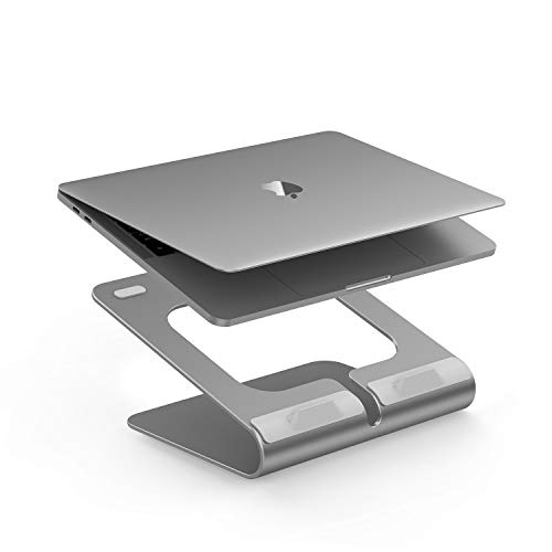 LENTION 360° Rotating L2 Laptop Notebook Stand Laptop Raiser for Desk with Swivel Base Compatible with MacBook Pro/Air Surface Laptop and More 116156 Inches Notebooks  Space Gray