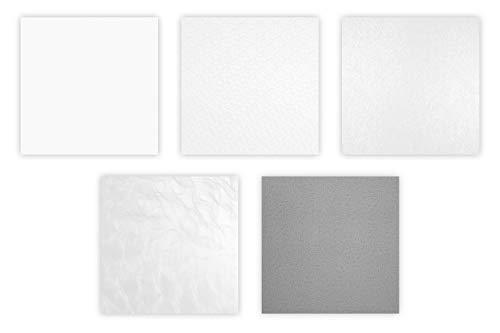 1 Rasterdeckenplatte 62x62cm, PVC Kunststoff, hart, wasserfest - effektvolle Deckengestaltung - HEXIM (seidenmatt weiß foliert - YDB007) Akustikdecke, Kassettendecke, Rasterdecke