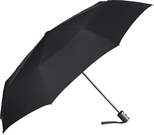 ÖkoBrella nachhaltiger Mini-Taschenschirm – 6 Farben Regenschirm Bezug aus recycelten Materialien - ökologisch sinnvoll hochwertig stabil windsicher (Schwarz)