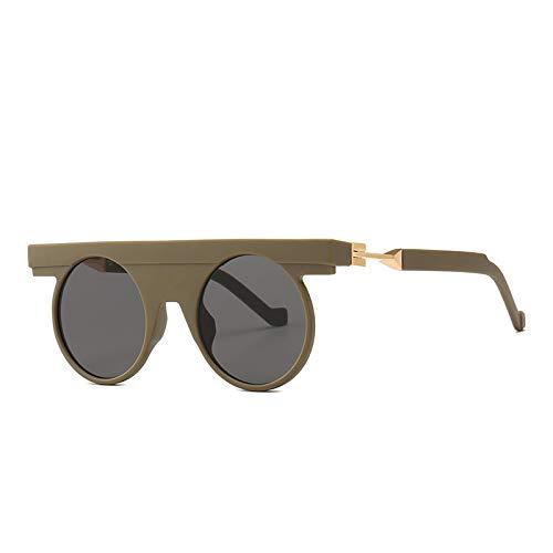 YANPAN Personalidad Americana Gafas De Sol Redondas Ocio Al Aire Libre Tendencia Gafas De Sol Esmeriladas C5 Marco Gris Película Gris