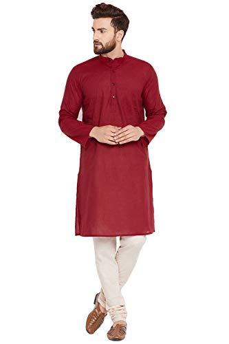 SKAVIJ Herren Tunika Baumwolle Kurta Pyjama Set indisches Yoga Freizeitkleid (Rot, XL)