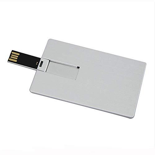 Novelty Cool 32GB USB 2.0 Flash Drive Tarjeta de visita de metal Tarjeta de crédito Tamaño de la tarjeta bancaria Forma Llave de crédito Memory Stick Thumb Drive Pendrive Jump Drive (Blanco)