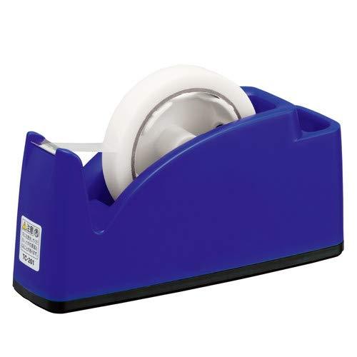 プラス テープカッター ペン立てポケット付き ブルー TC-201 【まとめ買い3個セット】