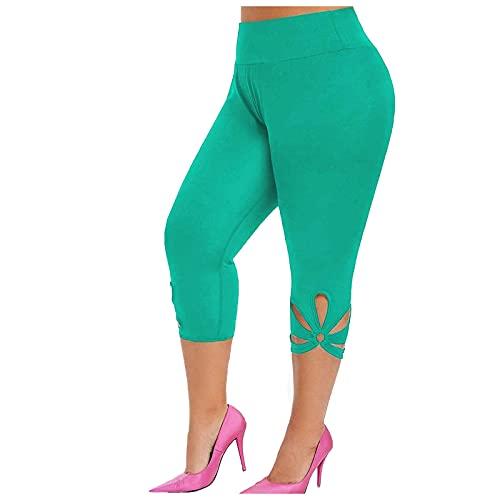 Leggings Mujer de Color Sólido Talla Grande Pantalones Deportivos Casual Mallas de Deporte de Cintura Alta Push Up Pantalón Absorbentes y Transpirables Leggins Fitness Yoga y Pilates