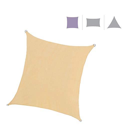 Rebecca Mobili Tenda Vela Parasole Quadrata Beige Polietilene Anti UV Giardino Terrazza Corde Incluse 3x3 mt (cod. RE6336)