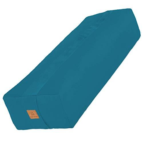 Rectangular Yoga Bolster – 10 Color Washable Organic Cotton Pillow Cover; USA Buckwheat...