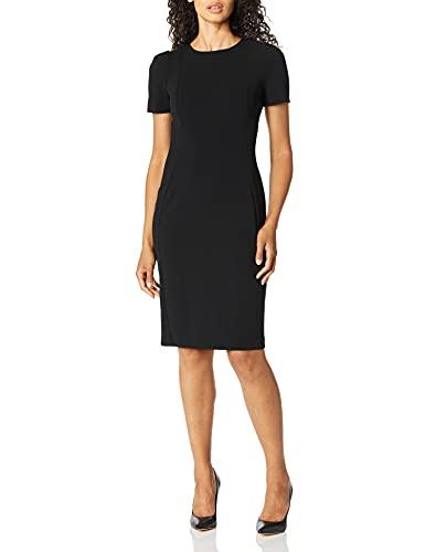 Calvin Klein Women's Short Sleeved Seamed Sheath Dress, Black, 4