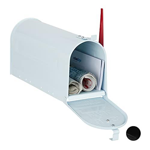 Relaxdays US Mailbox, Vintage, Fahne rot, Nostalgie, Retro-Look, ausgefallener Briefkasten, lustiges Zeitungsfach, weiß