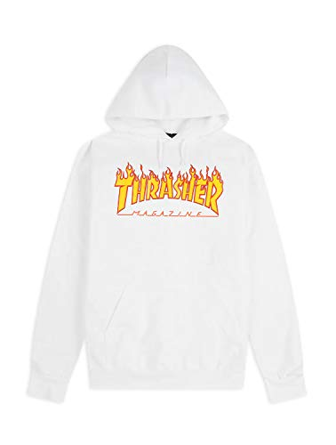 THRASHER MAGAZINE Flame Logo Hoodie Sudadera con capucha Thrasher original garantizado White Bianco S