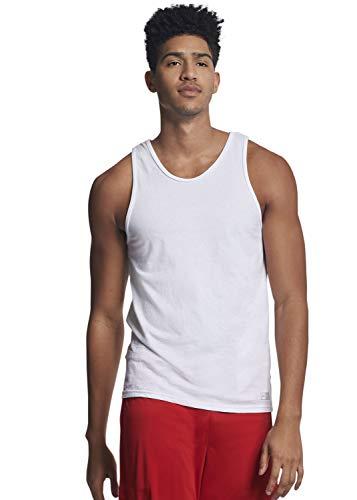 Russell Athletic Men's Cotton Performance Tank Top, White, L